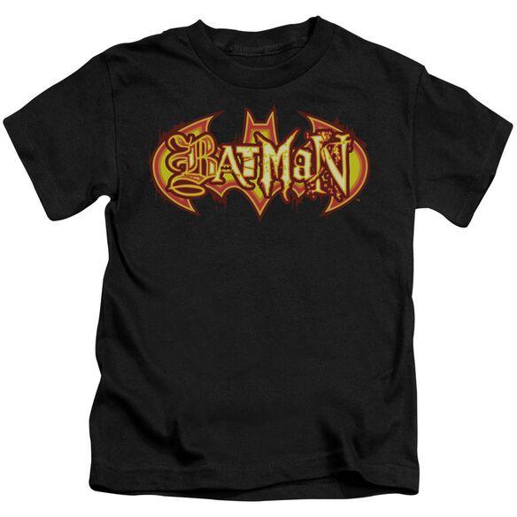 Batman Fiery Shield Short Sleeve Juvenile Black T-Shirt