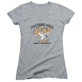Garfield Foot Fungus Karate Junior V Neck Athletic T-Shirt