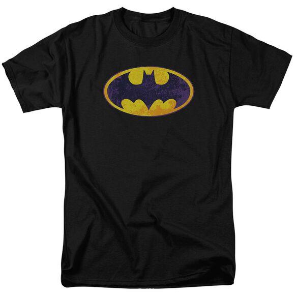 Batman Bm Neon Distress Logo Short Sleeve Adult T-Shirt