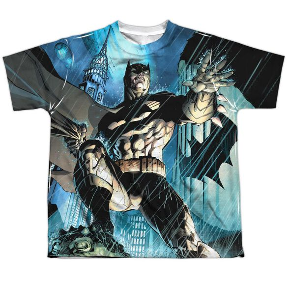 Batman Rainy Rooftop Short Sleeve Youth Poly Crew T-Shirt