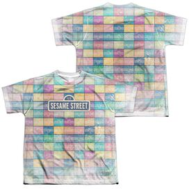 Sesame Street Color Block (Front Back Print) Short Sleeve Youth Poly Crew T-Shirt