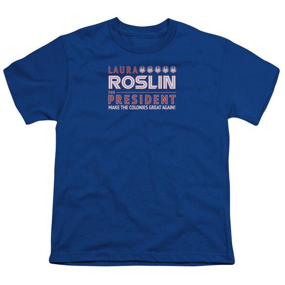 Bsg Roslin For President Short Sleeve Youth Royal T-Shirt