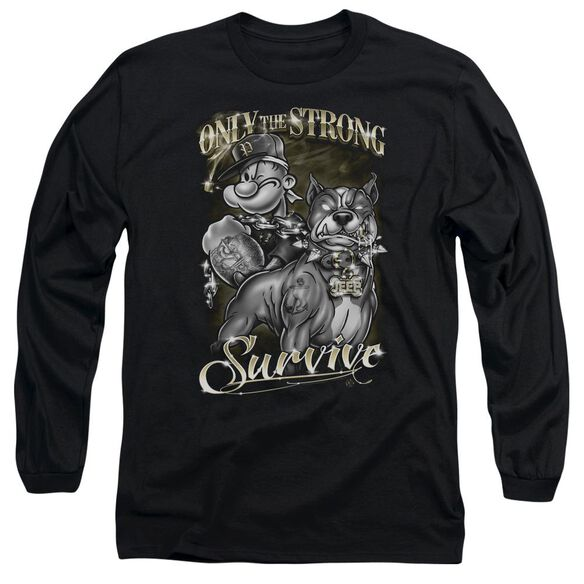 POPEYE ONLY THE STRONG - L/S ADULT 18/1 - BLACK T-Shirt