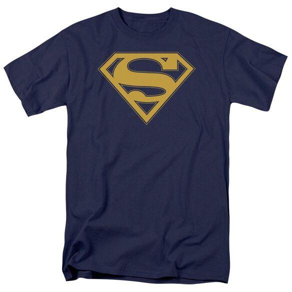 Superman Maize & Blue Shield Short Sleeve Adult Navy T-Shirt