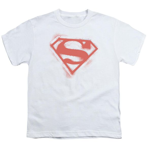 SUPERMAN SPRAY PAINT SHIELD - S/S YOUTH 18/1 - WHITE T-Shirt