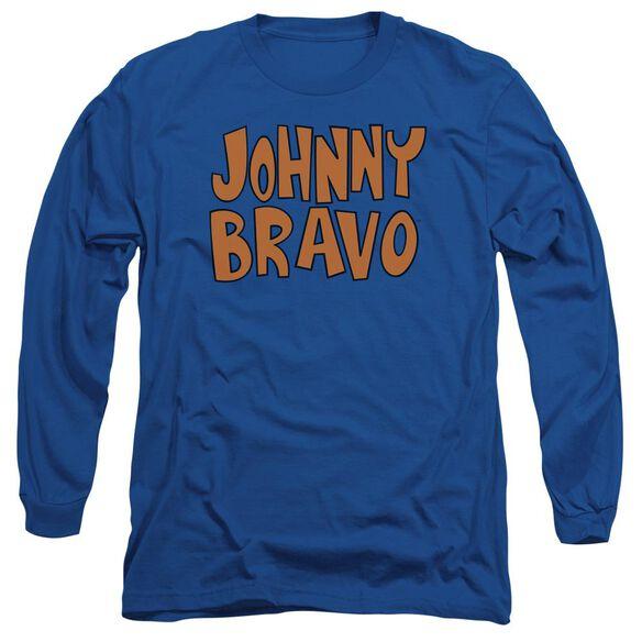 Johnny Bravo Jb Logo Long Sleeve Adult Royal T-Shirt