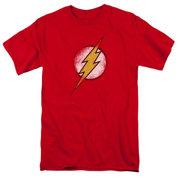 Jla Destroyed Flash Logo Short Sleeve Adult T-Shirt