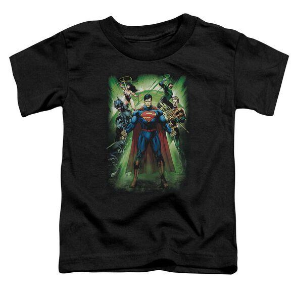 Jla Power Burst Short Sleeve Toddler Tee Black T-Shirt