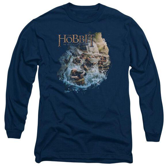 Hobbit Barreling Down Long Sleeve Adult T-Shirt