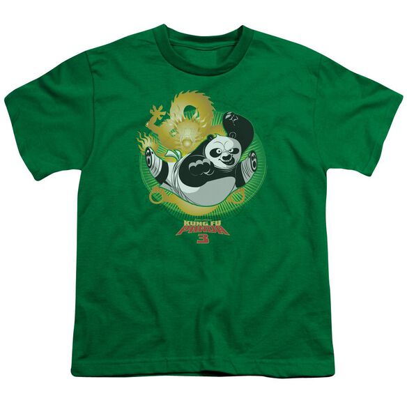 Kung Fu Panda Drago Po Short Sleeve Youth Kelly T-Shirt