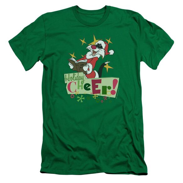 Looney Tunes Cheer Sylvester Short Sleeve Adult Kelly T-Shirt