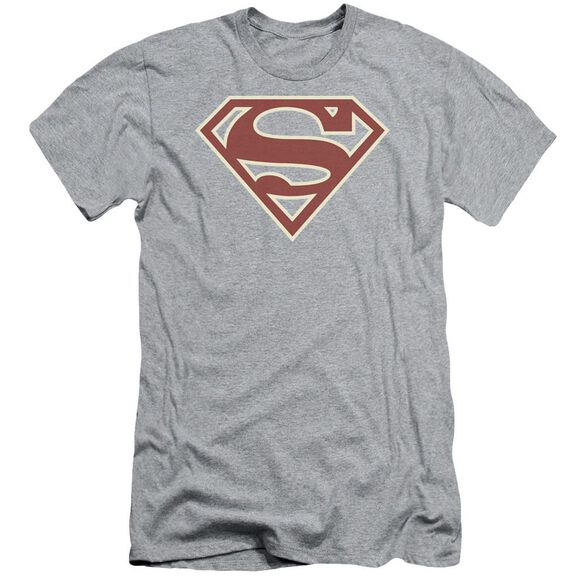 Superman Crimson & Cream Shield Short Sleeve Adult Athletic T-Shirt