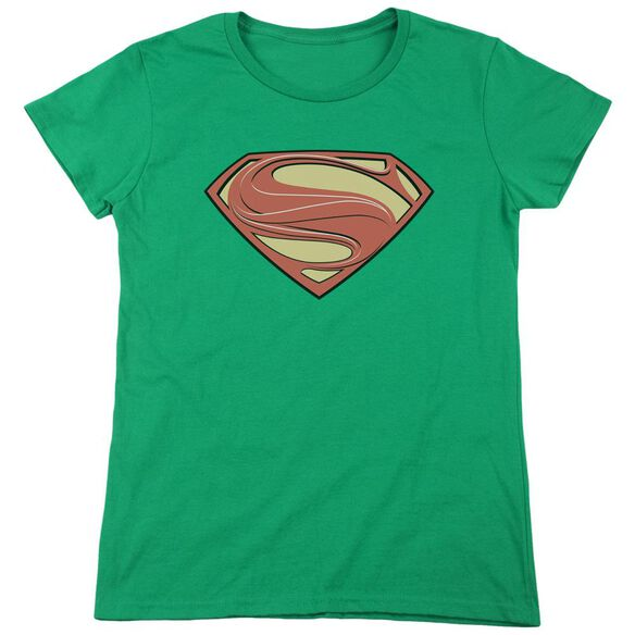 Man Of Steel New Solid Shield Short Sleeve Women's Tee Kelly T-Shirt