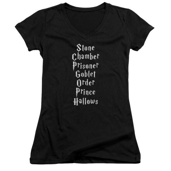 Harry Potter Titles Junior V Neck T-Shirt