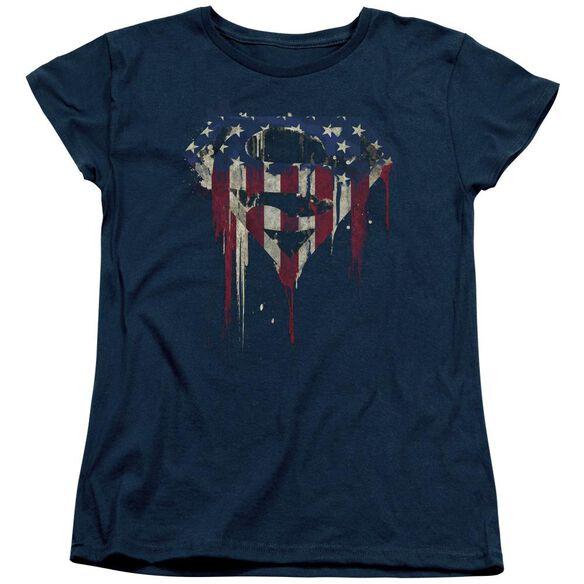 Superman Bleeding Shield Short Sleeve Womens Tee T-Shirt