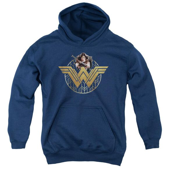 Wonder Woman Movie Power Stance And Emblem Youth Pull Over Hoodie