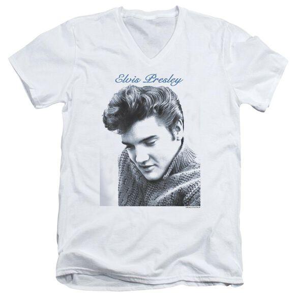 Elvis Script Sweater Short Sleeve Adult V Neck T-Shirt