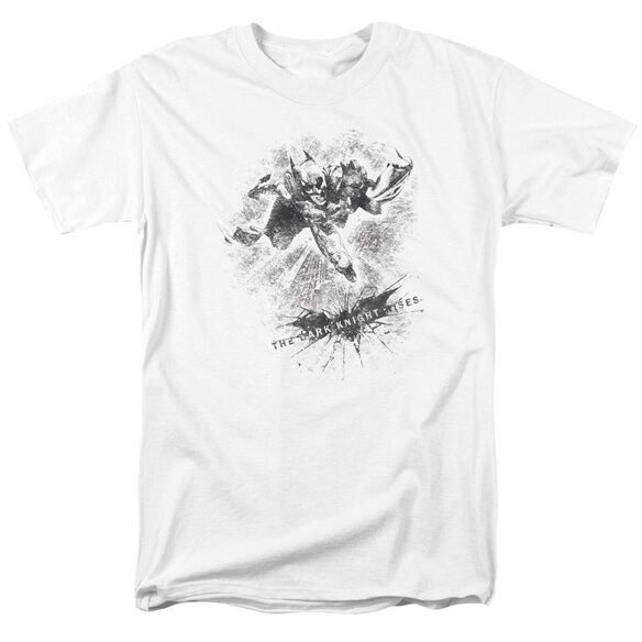 Dark Knight Rises Penciled Knight Short Sleeve Adult White T-Shirt