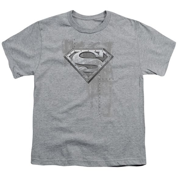 Superman Riveted Metal Short Sleeve Youth Athletic T-Shirt