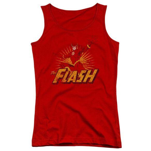 Jla Flash Rough Distress Juniors Tank Top