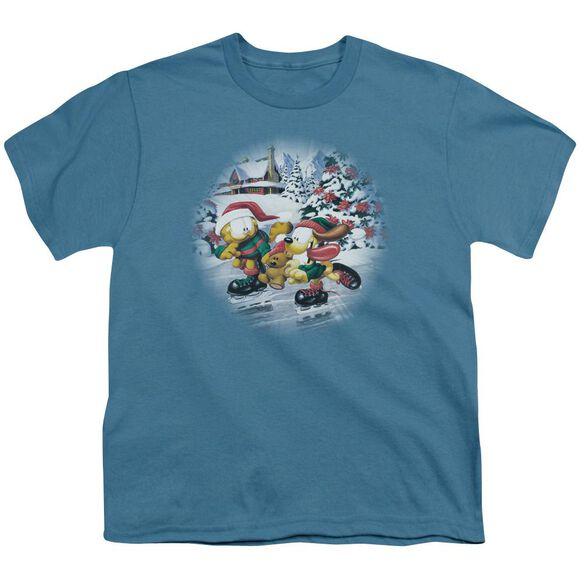 Garfield Ice Skating Short Sleeve Youth T-Shirt