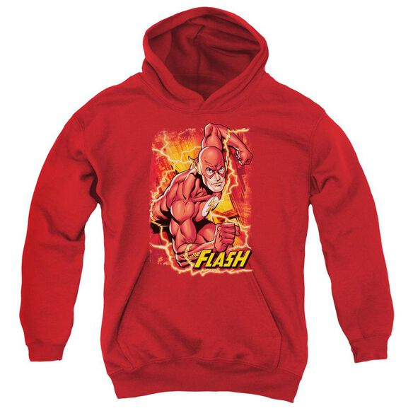 Jla Flash Lightning Youth Pull Over Hoodie