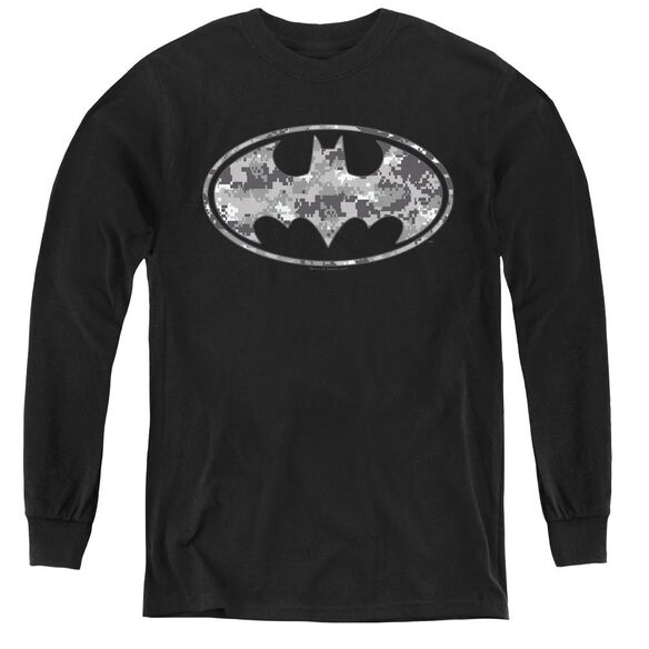 Batman Urban Camo Shield - Youth Long Sleeve Tee - Black