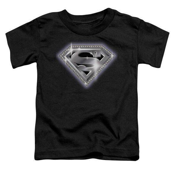 SUPERMAN BLING SHIELD - S/S TODDLER TEE - BLACK - T-Shirt
