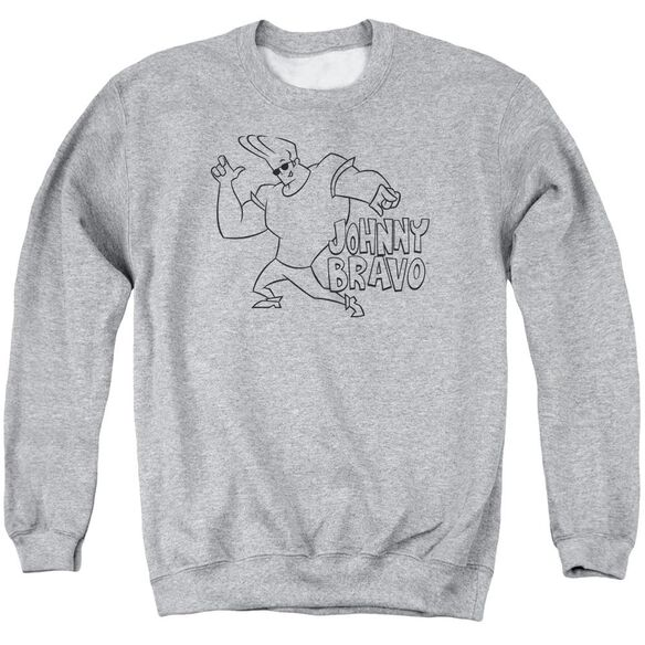 Johnny Bravo Jb Line Art Adult Crewneck Sweatshirt Athletic