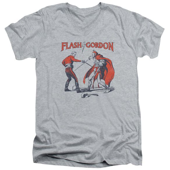 Flash Gordon Duel Short Sleeve Adult V Neck Athletic T-Shirt