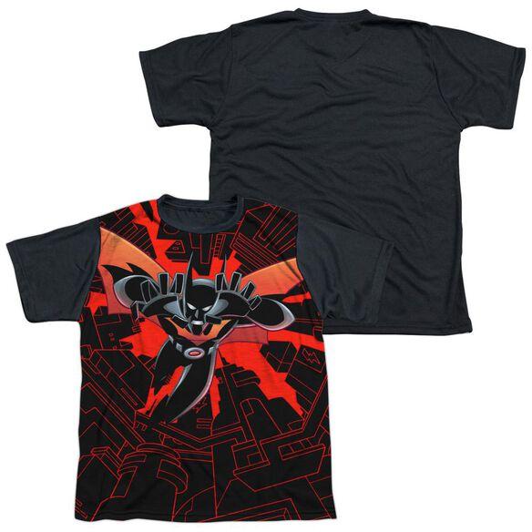 Batman Beyond Drop Down Short Sleeve Youth Front Black Back T-Shirt