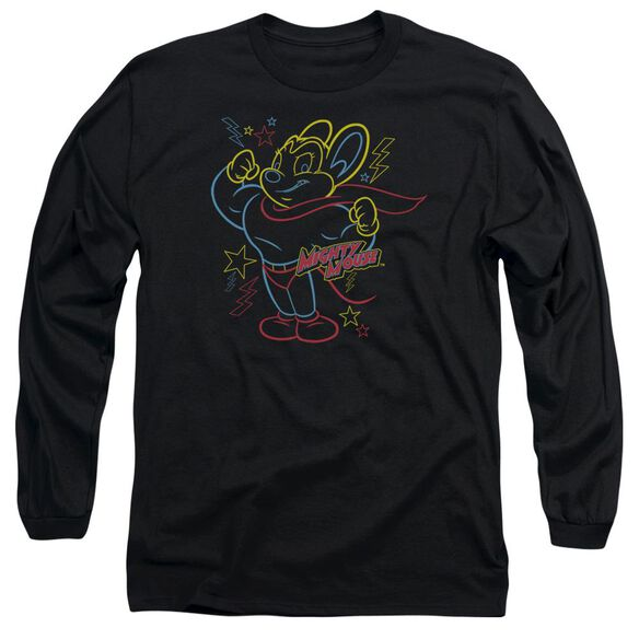 Mighty Mouse Neon Hero Long Sleeve Adult T-Shirt