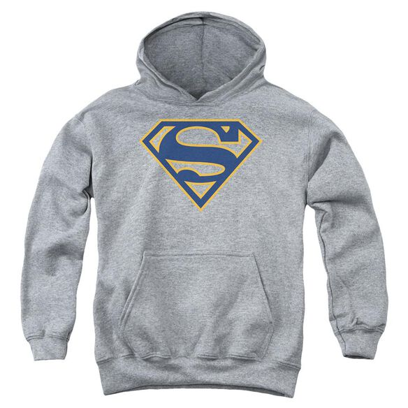 Superman Navy & Orange Shield Youth Pull Over Hoodie Athletic