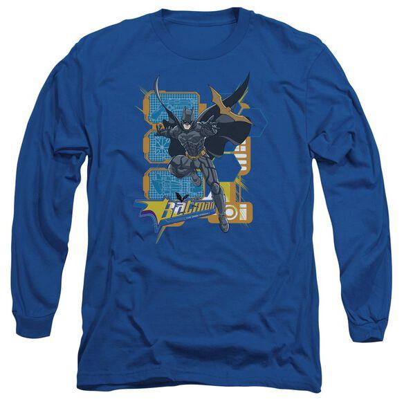 Dark Knight Batarang Tech Long Sleeve Adult Royal T-Shirt