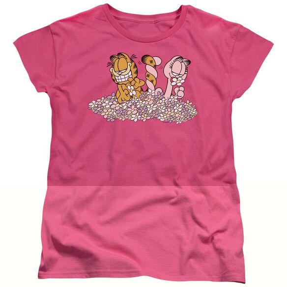 GARFIELD CHICKS DIG FLOWERS - S/S WOMENS TEE - HOT PINK T-Shirt
