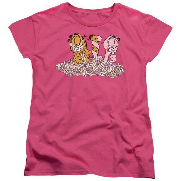 Garfield Chicks Dig Flowers Short Sleeve Womens Tee Hot T-Shirt
