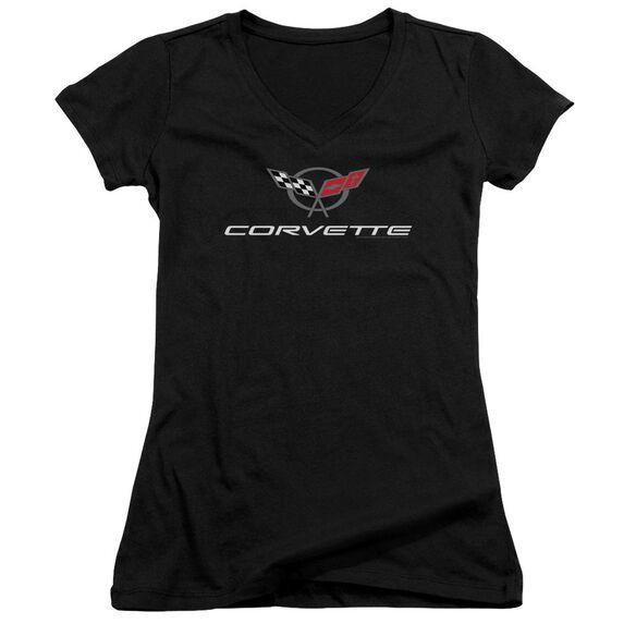 Chevrolet Corvette Modern Emblem Junior V Neck T-Shirt