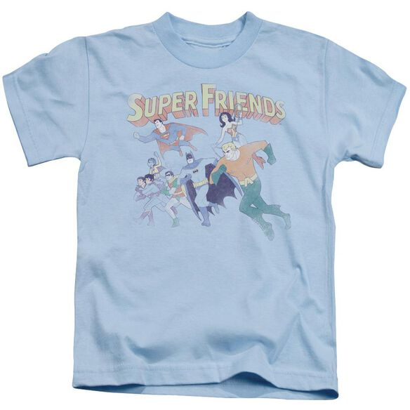 Dc Super Friends Short Sleeve Juvenile Light Blue T-Shirt