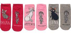 Sailor Moon Cats Ladies 3 Pair Low Cut Socks Set