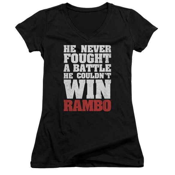 Rambo:First Blood He Never Junior V Neck T-Shirt