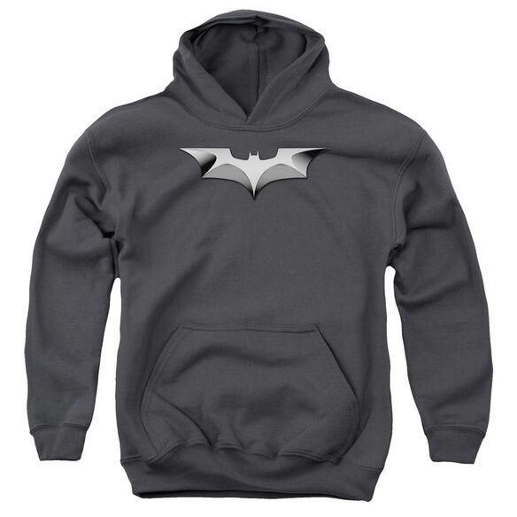 Dark Knight Metal Bat Logo Youth Pull Over Hoodie