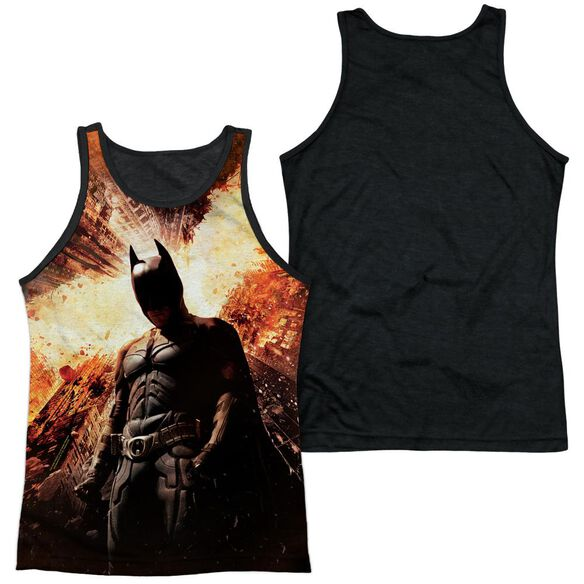 Dark Knight Rises Fire Poster Adult Poly Tank Top Black Back