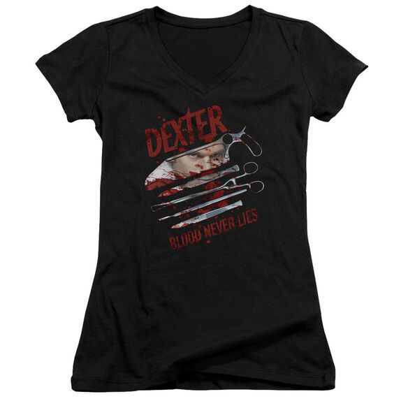 Dexter Blood Never Lies Junior V Neck T-Shirt