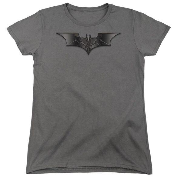 Dark Knight Carbon Fiber Shield Short Sleeve Womens Tee Charcoal T-Shirt