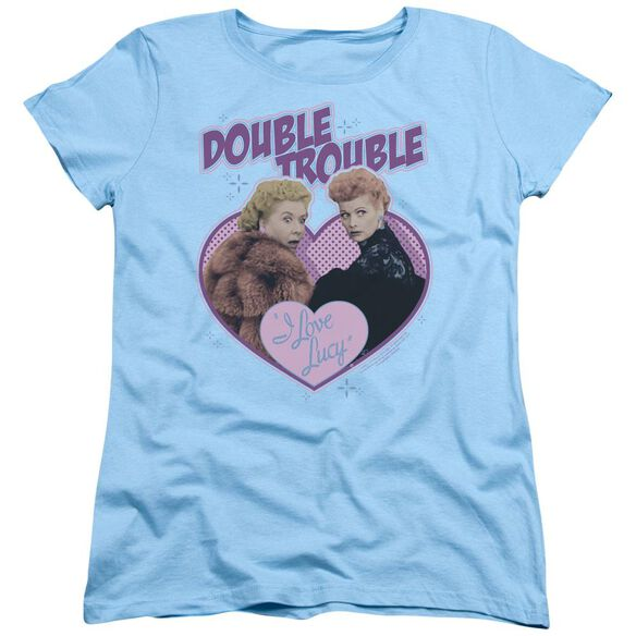 I Love Lucy Double Trouble Short Sleeve Womens Tee Light Blue T-Shirt
