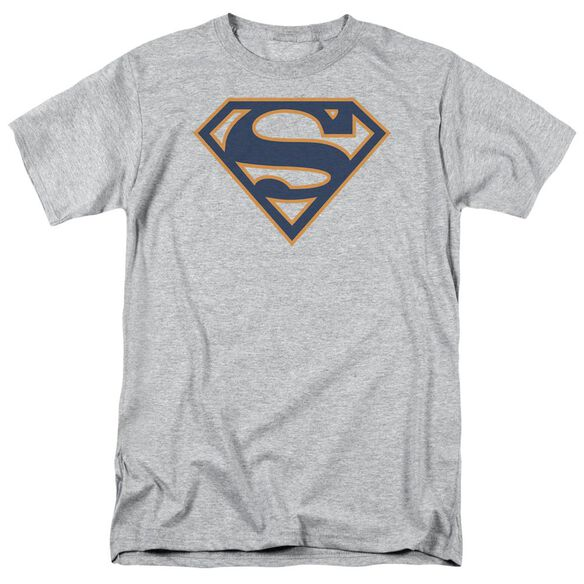 Superman Navy & Orange Shield Short Sleeve Adult Athletic Heather T-Shirt