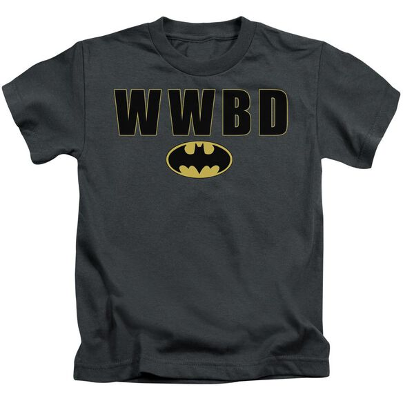Batman Wwbd Logo Short Sleeve Juvenile Charcoal T-Shirt