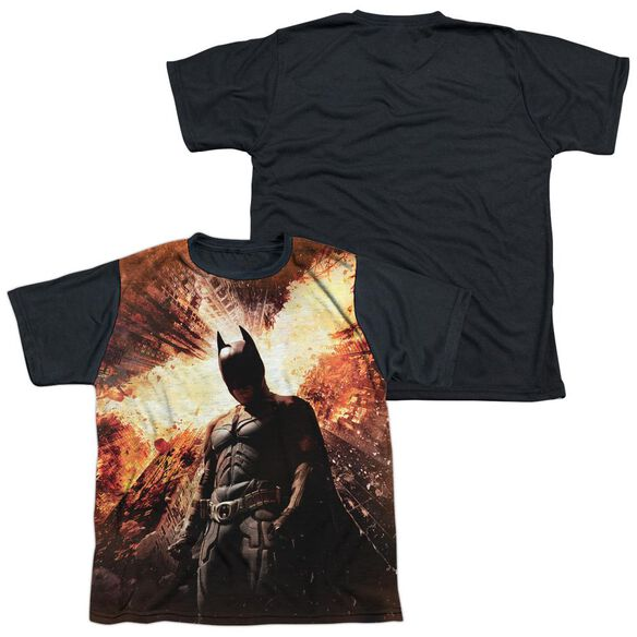 Dark Knight Rises Fire Poster Short Sleeve Youth Front Black Back T-Shirt