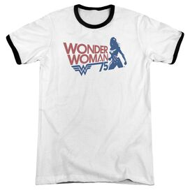 Wonder Woman Ww75 Silhouette Adult Ringer White Black