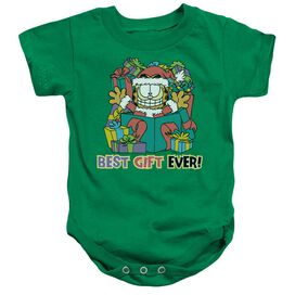 Garfield Best Gift Ever Infant Snapsuit Kelly Green